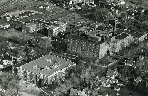 An aerial shot of the hospital in 1964